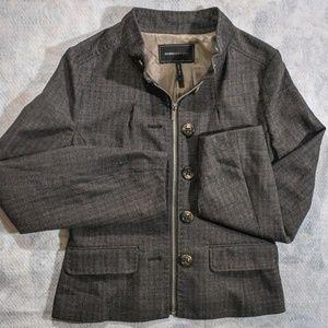 BCBG MAXAZRIA Tweed Zip Up Blazer Wool-Blend
